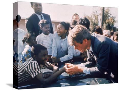 Robert F. Kennedy Meeting with Some African American Kids During Political Campaign-Bill Eppridge-Stretched Canvas Print