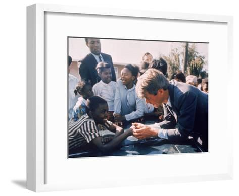 Robert F. Kennedy Meeting with Some African American Kids During Political Campaign-Bill Eppridge-Framed Art Print