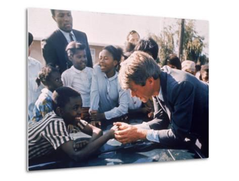 Robert F. Kennedy Meeting with Some African American Kids During Political Campaign-Bill Eppridge-Metal Print
