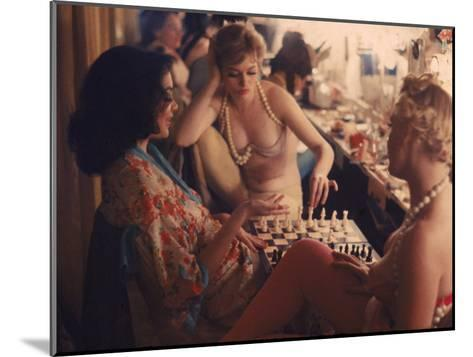 Showgirls Playing Chess Between Shows at Latin Quarter Nightclub-Gordon Parks-Mounted Photographic Print