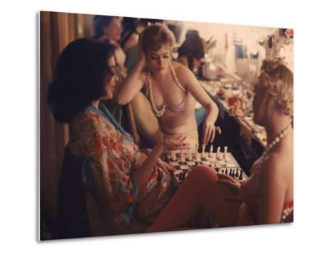 Showgirls Playing Chess Between Shows at Latin Quarter Nightclub-Gordon Parks-Metal Print