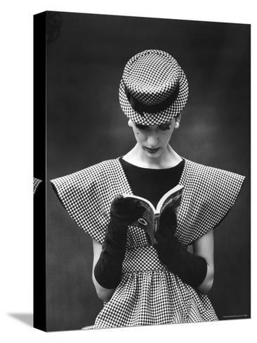 Woman Wearing Wide Shoulder Fashion Look-Nina Leen-Stretched Canvas Print