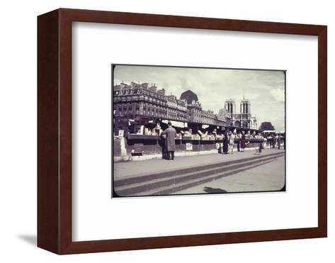 People Shopping at Book and Print Stalls Along the Seine River-William Vandivert-Framed Art Print
