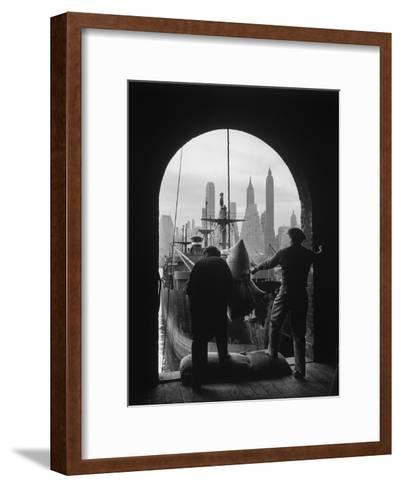 Men Unloading Coffee at Brooklyn Dock. View of Downtown Manhattan in Background-Andreas Feininger-Framed Art Print
