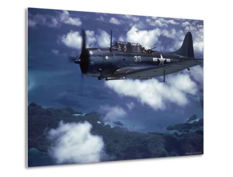 US Navy SBD Dauntless in Flight During Palau Islands Air Raid Attack-J^ R^ Eyerman-Metal Print