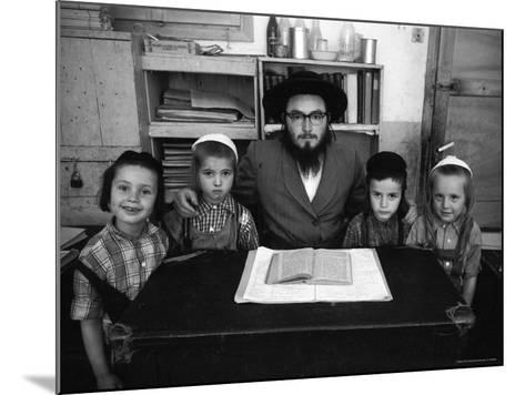Rabbi Posing with His Young Students Who Are Learning to Read Hebrew at This Orthodox School-Paul Schutzer-Mounted Photographic Print