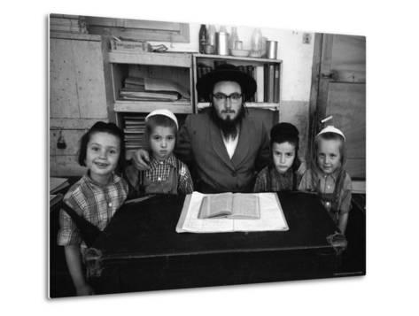 Rabbi Posing with His Young Students Who Are Learning to Read Hebrew at This Orthodox School-Paul Schutzer-Metal Print