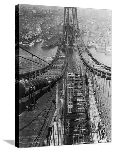 Manhattan Bridge under Construction--Stretched Canvas Print