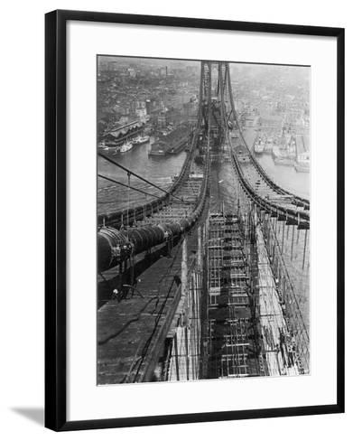 Manhattan Bridge under Construction--Framed Art Print