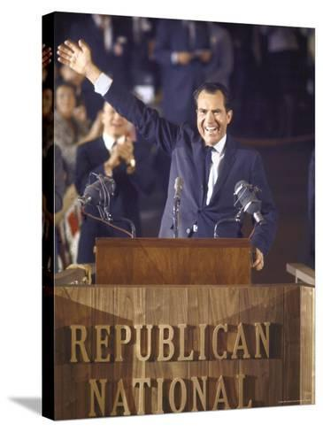 Politician Richard Nixon Waving From Platform at Republican National Convention-John Dominis-Stretched Canvas Print