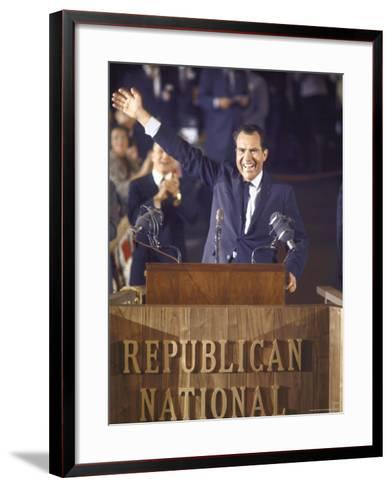Politician Richard Nixon Waving From Platform at Republican National Convention-John Dominis-Framed Art Print