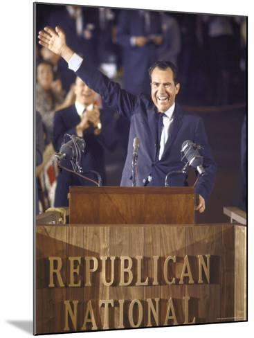 Politician Richard Nixon Waving From Platform at Republican National Convention-John Dominis-Mounted Photographic Print