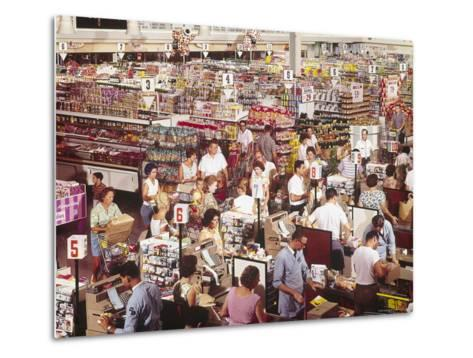 Overhead of Stacked Shelves of Food at Super Giant Supermarket with Shoppers Lined Up at Check Outs-John Dominis-Metal Print