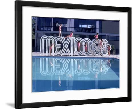 "School Children Playing on Olympic Logo ""Mexico 68"" Beside Pool-John Dominis-Framed Art Print"