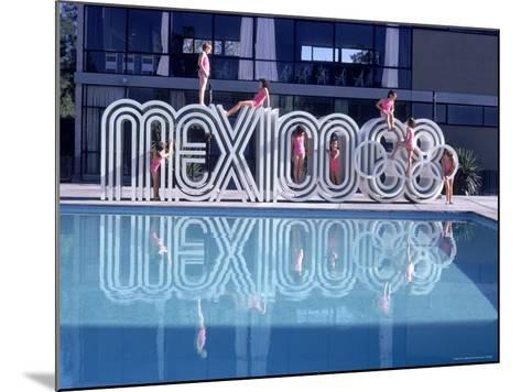 """School Children Playing on Olympic Logo """"Mexico 68"""" Beside Pool-John Dominis-Mounted Photographic Print"""
