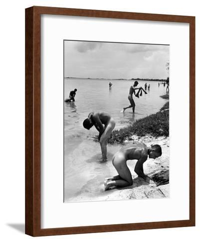 Naked Us Soldiers Bathing in the Pacific Ocean During a Lull in the Fighting on Saipan-Peter Stackpole-Framed Art Print