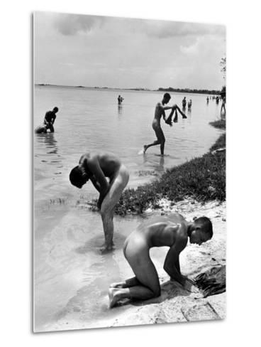 Naked Us Soldiers Bathing in the Pacific Ocean During a Lull in the Fighting on Saipan-Peter Stackpole-Metal Print