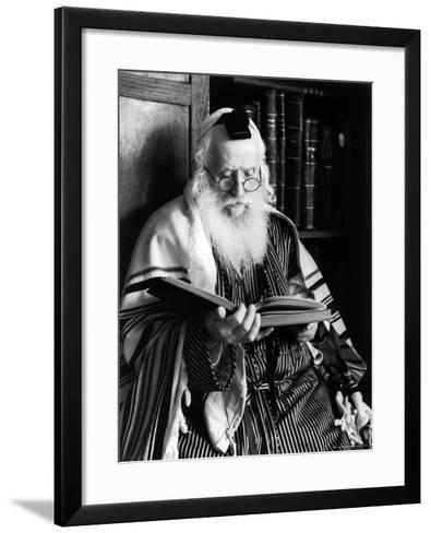 Rabbi Joshua Heshil Holtovski, Leader of the Karlin Chassidic Sect, Praying-Alfred Eisenstaedt-Framed Art Print