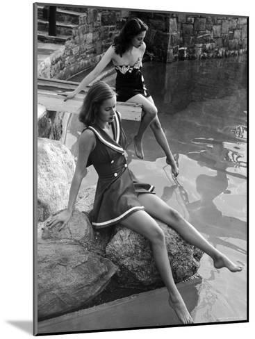 Pair of Models Showing Off New Bathing Suits on the Banks of the River-Nina Leen-Mounted Photographic Print