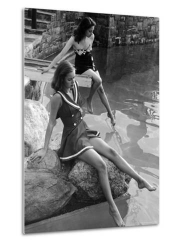 Pair of Models Showing Off New Bathing Suits on the Banks of the River-Nina Leen-Metal Print