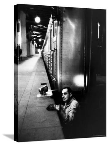 Track Man on New York New Haven Line in Grand Central Station-Alfred Eisenstaedt-Stretched Canvas Print