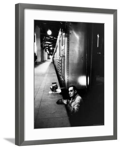 Track Man on New York New Haven Line in Grand Central Station-Alfred Eisenstaedt-Framed Art Print