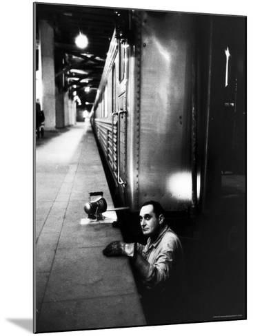Track Man on New York New Haven Line in Grand Central Station-Alfred Eisenstaedt-Mounted Photographic Print
