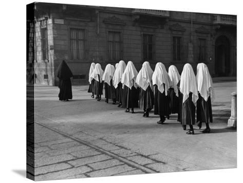 Young Nuns on Way to Mass-Alfred Eisenstaedt-Stretched Canvas Print