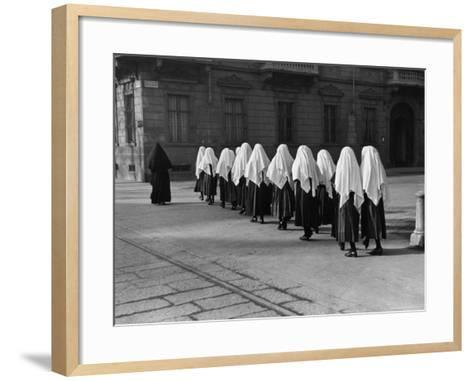 Young Nuns on Way to Mass-Alfred Eisenstaedt-Framed Art Print
