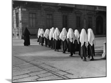 Young Nuns on Way to Mass-Alfred Eisenstaedt-Mounted Photographic Print
