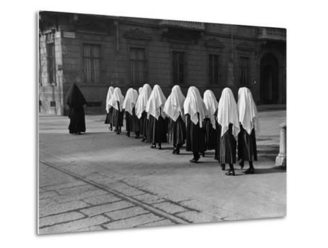 Young Nuns on Way to Mass-Alfred Eisenstaedt-Metal Print