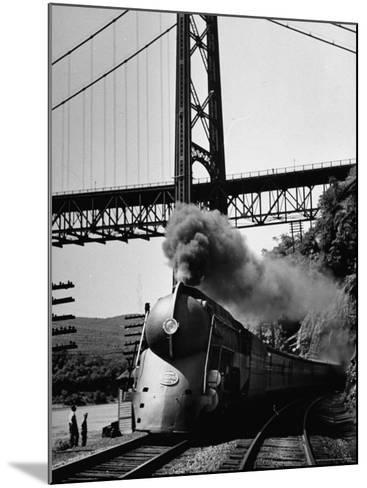 The New York Central Steamliner Releasing Steam as It Comes to a Stop-Peter Stackpole-Mounted Photographic Print