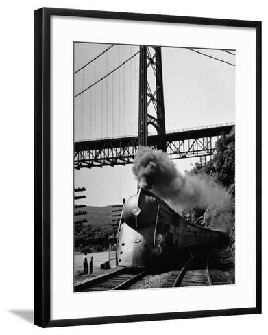 The New York Central Steamliner Releasing Steam as It Comes to a Stop-Peter Stackpole-Framed Art Print