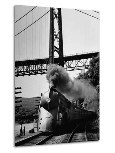The New York Central Steamliner Releasing Steam as It Comes to a Stop-Peter Stackpole-Metal Print