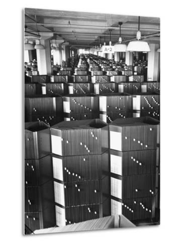 Room Containing the Visible Index Files at the Social Security Board-Thomas D^ Mcavoy-Metal Print