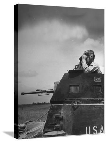 Troop Member Standing Up, Out of the Tank, Looking Through His Binoculars-John Phillips-Stretched Canvas Print