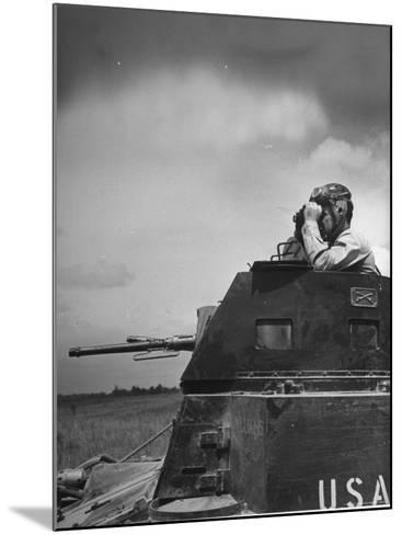 Troop Member Standing Up, Out of the Tank, Looking Through His Binoculars-John Phillips-Mounted Photographic Print
