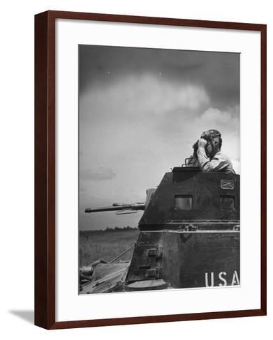 Troop Member Standing Up, Out of the Tank, Looking Through His Binoculars-John Phillips-Framed Art Print