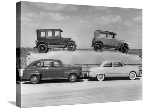New Ford Cars Arranged to Make Advertising Pictures-William Sumits-Stretched Canvas Print