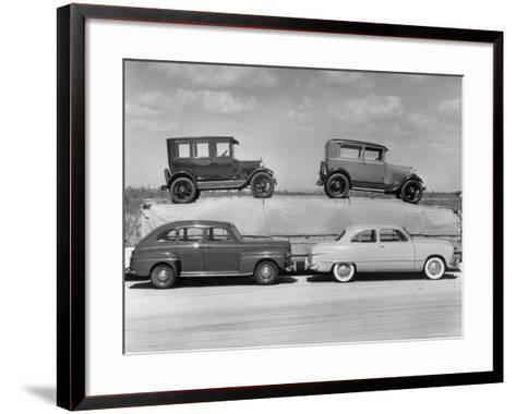 New Ford Cars Arranged to Make Advertising Pictures-William Sumits-Framed Art Print