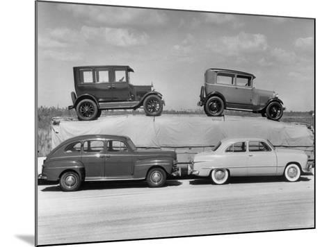 New Ford Cars Arranged to Make Advertising Pictures-William Sumits-Mounted Photographic Print