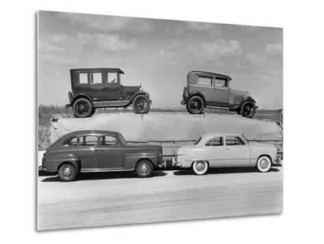 New Ford Cars Arranged to Make Advertising Pictures-William Sumits-Metal Print