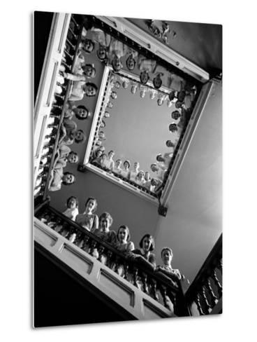 Student Nurses Lining the Railings of Stairwell at Roosevelt Hospital-Alfred Eisenstaedt-Metal Print