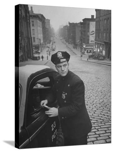 Ny Patrolman James Murphy Standing by His 23 Precinct Squad Car on Street of His East Harlem Beat-Tony Linck-Stretched Canvas Print