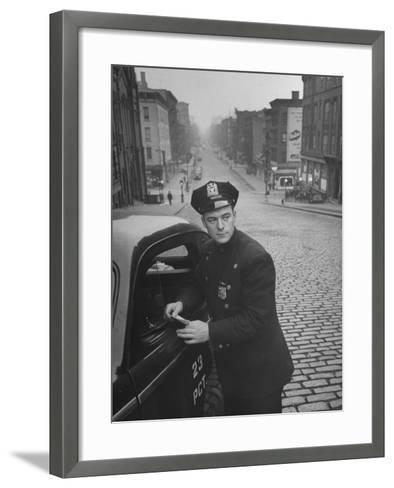 Ny Patrolman James Murphy Standing by His 23 Precinct Squad Car on Street of His East Harlem Beat-Tony Linck-Framed Art Print
