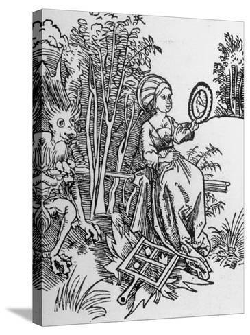Woodcut of the Devil Tempting a Woman's Vanity with a Mirror--Stretched Canvas Print