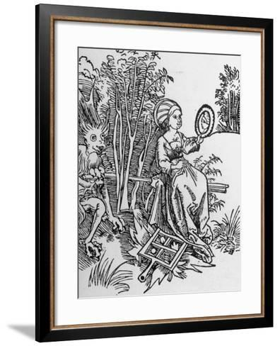 Woodcut of the Devil Tempting a Woman's Vanity with a Mirror--Framed Art Print