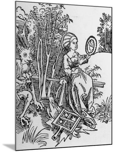 Woodcut of the Devil Tempting a Woman's Vanity with a Mirror--Mounted Photographic Print