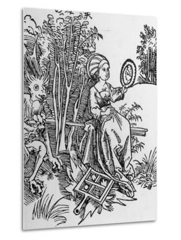 Woodcut of the Devil Tempting a Woman's Vanity with a Mirror--Metal Print
