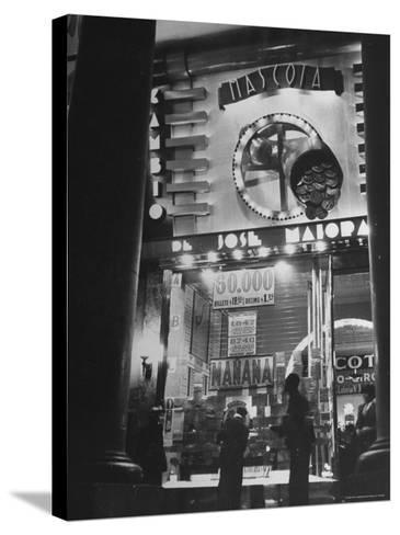 View Showing the Exterior of the Biggest Montevideo Place For Selling Lottery Tickets-Hart Preston-Stretched Canvas Print